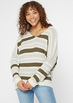 Olive Striped Slouchy Dolman Sleeve Sweater