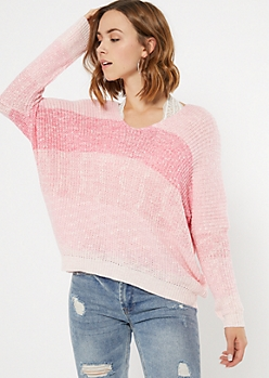 Pink Marled Striped Slouchy Sweater