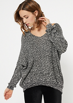 Black Marled Drop Sleeve Slouchy Sweater