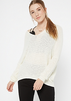 Ivory Drop Sleeve Slouchy Sweater