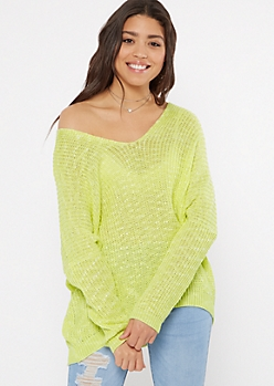 Neon Green Marled Drop Sleeve Slouchy Sweater