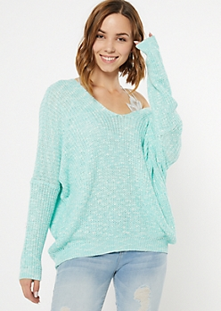 Blue Marled Drop Sleeve Slouchy Sweater