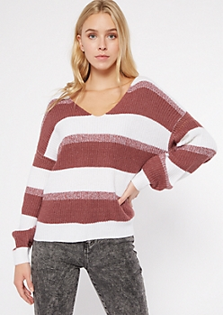 Purple Striped Balloon Sleeve Slouchy Pocket Sweater