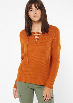 Burnt Orange Lace Up V Neck Sweater