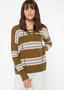 Olive Striped Lace Up V Neck Sweater