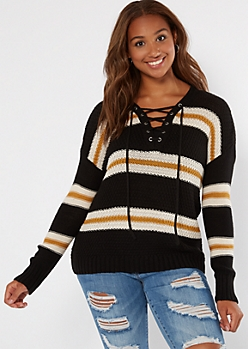 Black Striped Drop Sleeve Lace Up V Neck Sweater