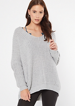 Gray Drop Sleeve On-Off Shoulder Sweater
