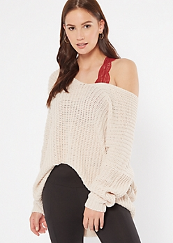 Heathered Oatmeal Drop Sleeve On-Off Shoulder Sweater