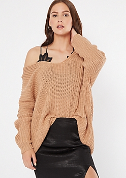 Camel Drop Sleeve On-Off Shoulder Sweater