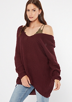 Burgundy Drop Sleeve On-Off Shoulder Sweater