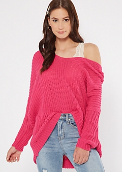 Fuchsia Drop Sleeve On-Off Shoulder Sweater