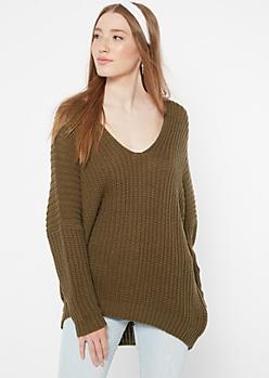 Olive Drop Sleeve On-Off Shoulder Sweater