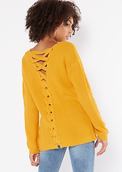 Mustard V Neck Lace Up Back Sweater