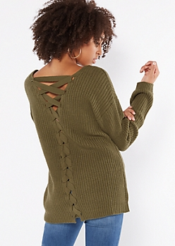 Olive V Neck Lace Up Back Sweater