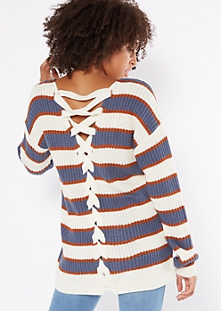 Blue Striped V Neck Lace Up Back Sweater
