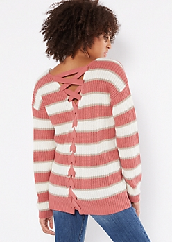 Pink Striped V Neck Lace Up Back Sweater