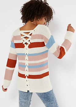 Mauve Striped V Neck Lace Up Back Sweater