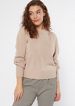 Tan Puff Sleeve Sweater