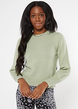 Light Green Puff Sleeve Sweater