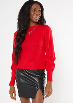 Red Puff Sleeve Sweater