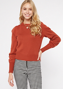 Burnt Orange Puff Sleeve Sweater