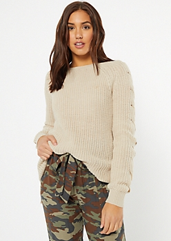 Oatmeal Cable Sleeve Tunic Sweater