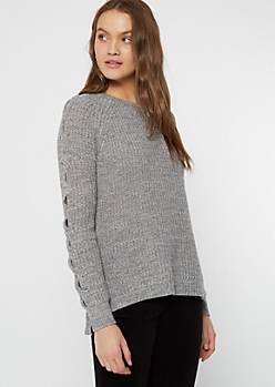 Gray Marled Cable Sleeve Tunic Sweater