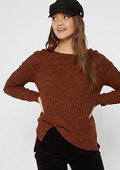 Burnt Orange Marled Cable Sleeve Tunic Sweater