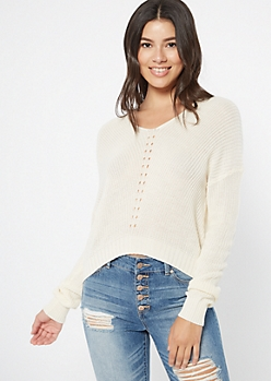 Ivory High Low Pointelle Sweater