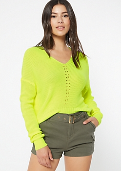 Neon Yellow High Low Pointelle Sweater