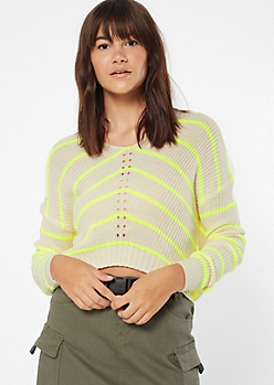 Neon Yellow Striped High Low Pointelle Sweater