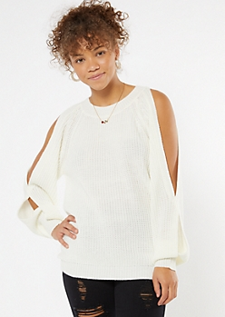Cream Cutout Bubble Sleeve Tunic Sweater
