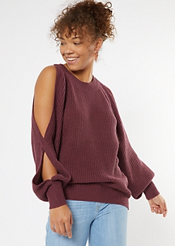 Dark Purple Cutout Bubble Sleeve Tunic Sweater