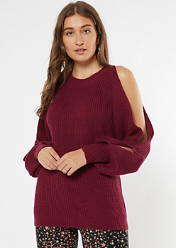 Burgundy Cutout Bubble Sleeve Tunic Sweater