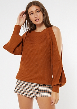 Burnt Orange Cutout Bubble Sleeve Tunic Sweater
