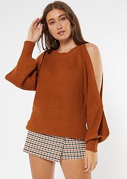 Burnt Orange Cutout Bubble Sleeve Tunic Sweater