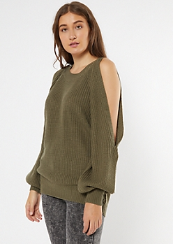Olive Green Cutout Bubble Sleeve Tunic Sweater