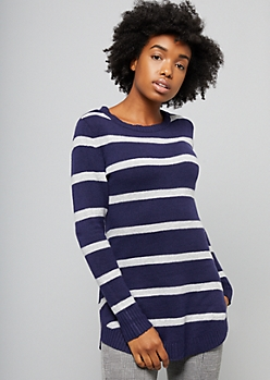 Navy Striped Crew Neck Oversized Tunic Sweater