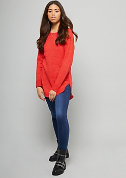 Red Crew Neck Oversized Tunic Sweater