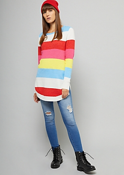 Pink Striped Crew Neck Oversized Tunic Sweater