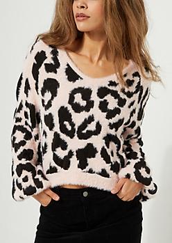 Pink Animal Print Eyelash Knit Sweater