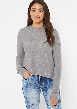 Heather Gray Mock Neck High Low Sweater