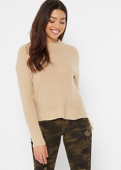 Tan Mock Neck High Low Sweater