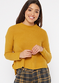 Mustard Mock Neck High Low Sweater