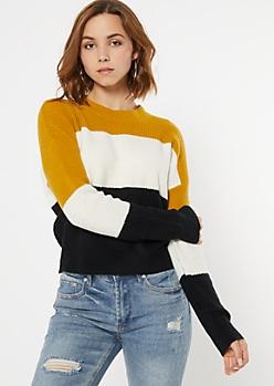Mustard Striped Eyelash Sweater