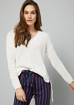 Ivory V Neck High Low Tunic Sweater