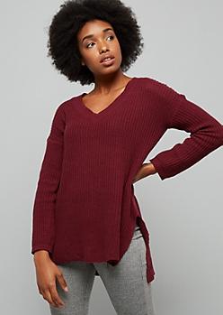 Burgundy V Neck High Low Sweater