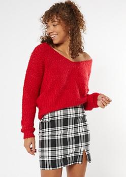 Red Fuzzy Eyelash Knit V Neck Sweater