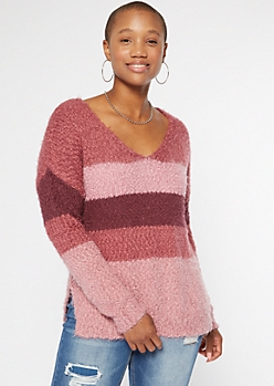 Pink Striped Fuzzy Eyelash Knit V Neck Sweater