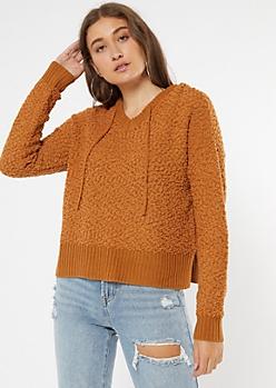 Mustard V Neck Boxy Hoodie Sweater